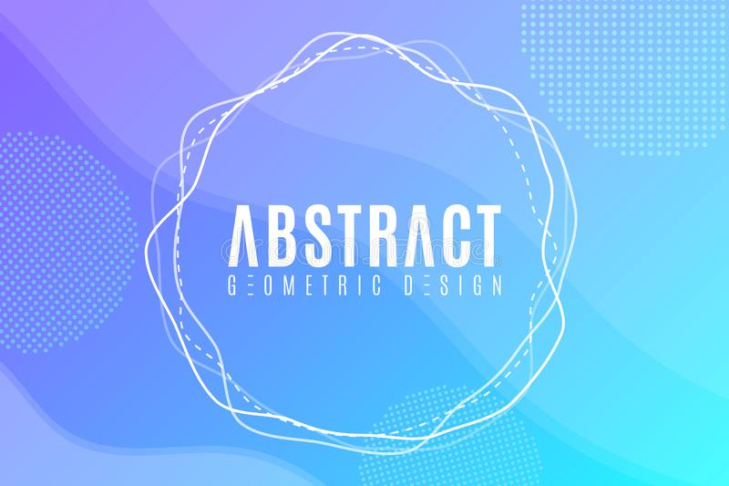 Abstract creative web banner for your design. Modern blue background. Geometric design, Trendy style. Fluid graphic yellow shape. royalty free illustration
