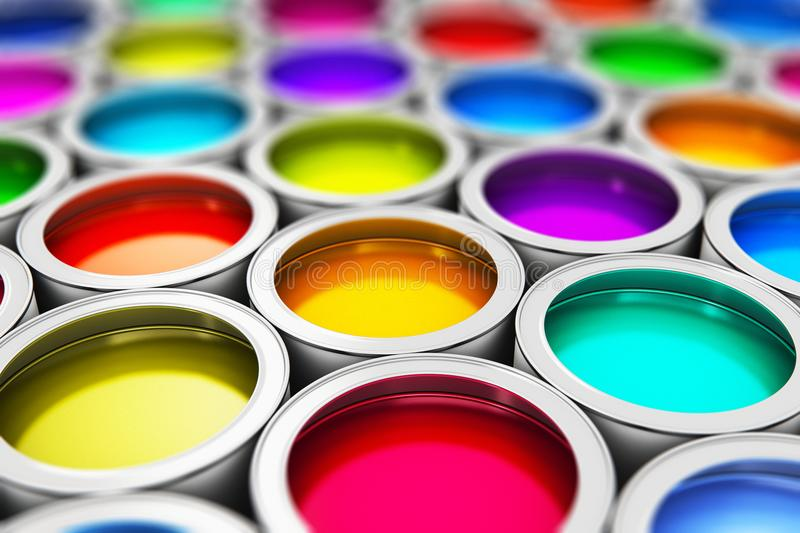 Color paint cans royalty free illustration