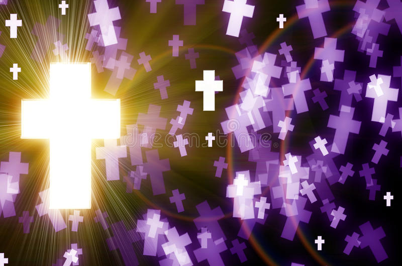 Abstract cross. Magical abstract cross light bokeh background on black and purple stock illustration