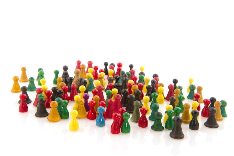 Abstract crowd. Large group of people in many colors in abstract royalty free stock photography
