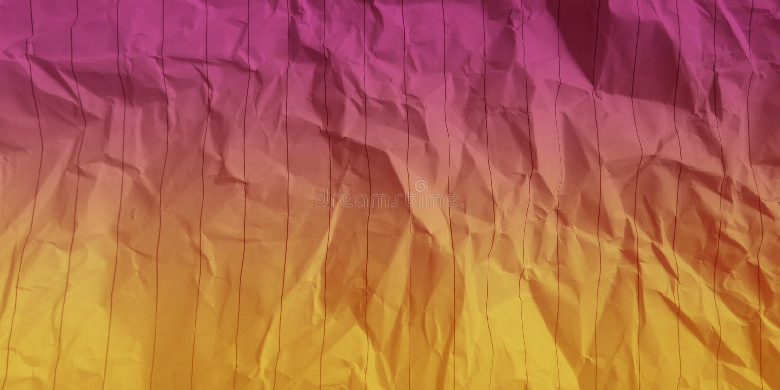 Abstract crumpled paper crimson gold color multi colors effects background. royalty free stock photo