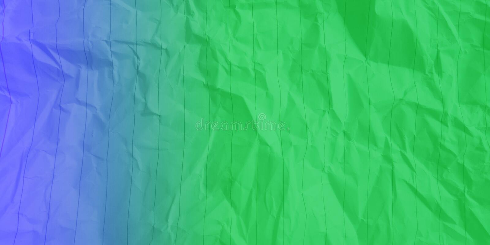 Abstract crumpled paper electric blue light green color multi colors effects background. stock photo