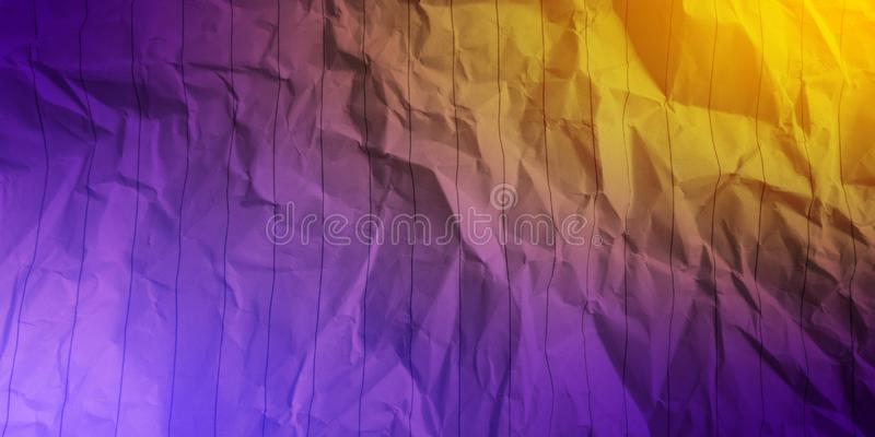 Abstract crumpled paper plum majestic purple sky blue deep yellow color multi colors effects background. stock image