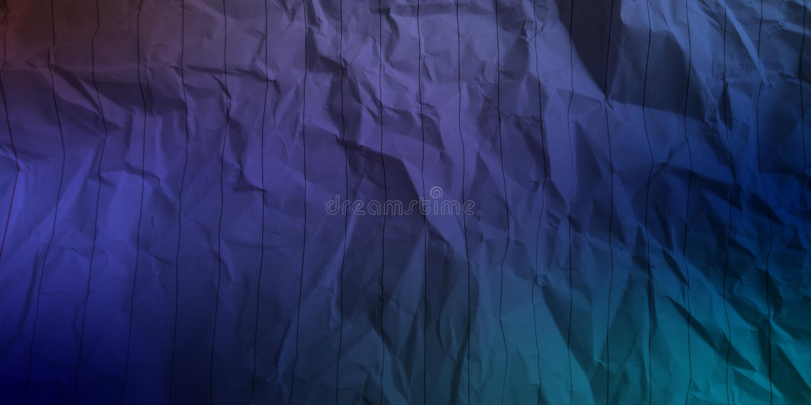 Abstract crumpled paper sky blue dark brown electric blue pastel blue navy blue deep blue color multi colors effects background. stock image