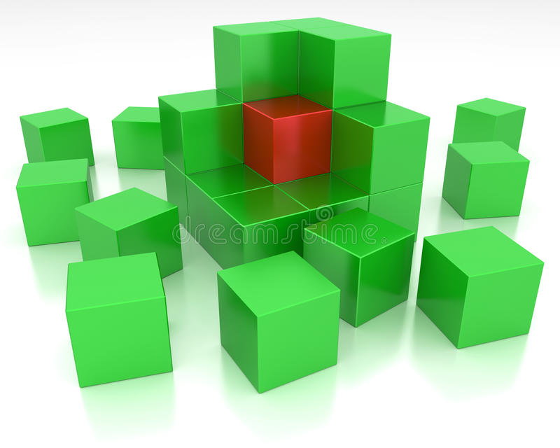 Abstract cube. Partially assembled from blocks royalty free illustration