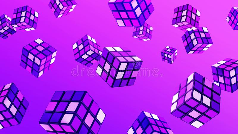 Abstract cube art in gradient color.Fantasy creativity backgrounds concepts royalty free stock image
