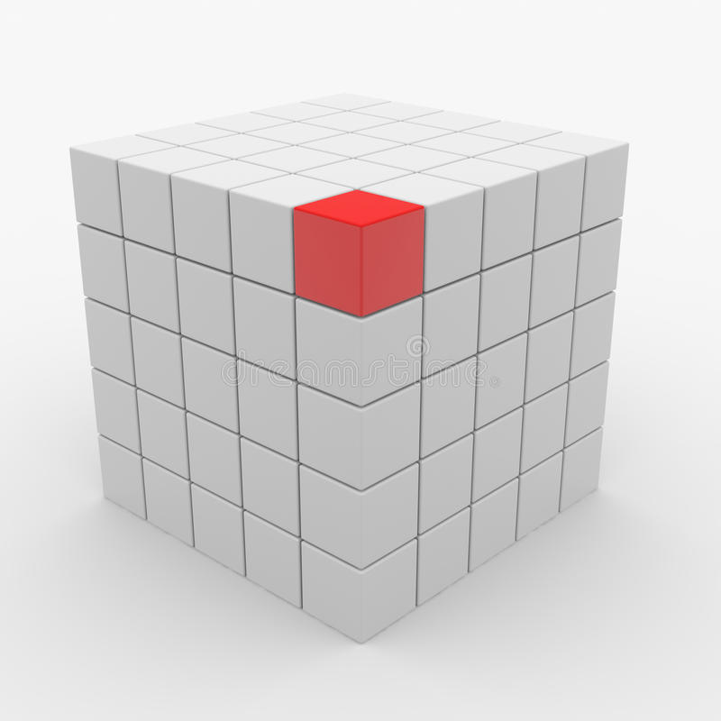 Download Abstract Cube Assembling From White Blocks Stock Illustration - Illustration of perspective, organization: 21118125