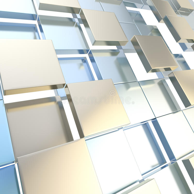 Abstract cube background techno wallpaper. Abstract cube background shiny glossy blue and silver backdrop techno wallpaper royalty free illustration