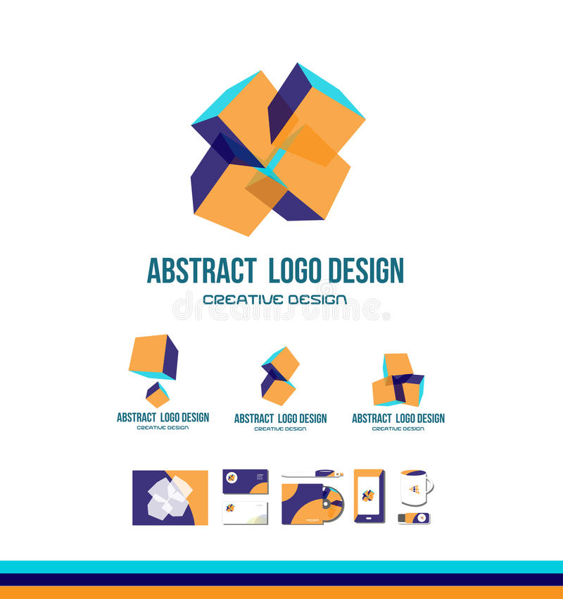 Abstract cube logo icon design stock illustration