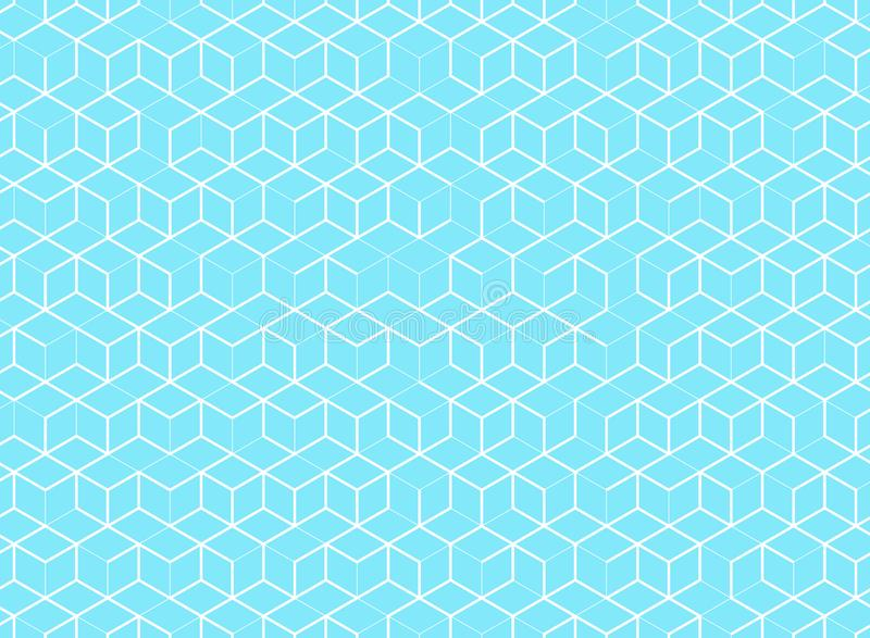 Abstract cube pattern on blue background. Digital geometric line stock illustration