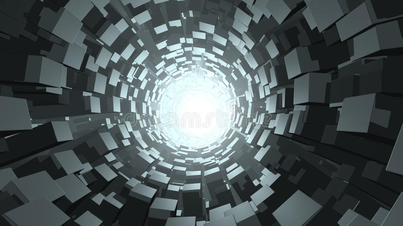 Abstract cube wormhole. A 3D rendered image of an abstract wormhole. The cosmic tunnel has futuristic modern black and grey blocks and a bright light at the end royalty free illustration