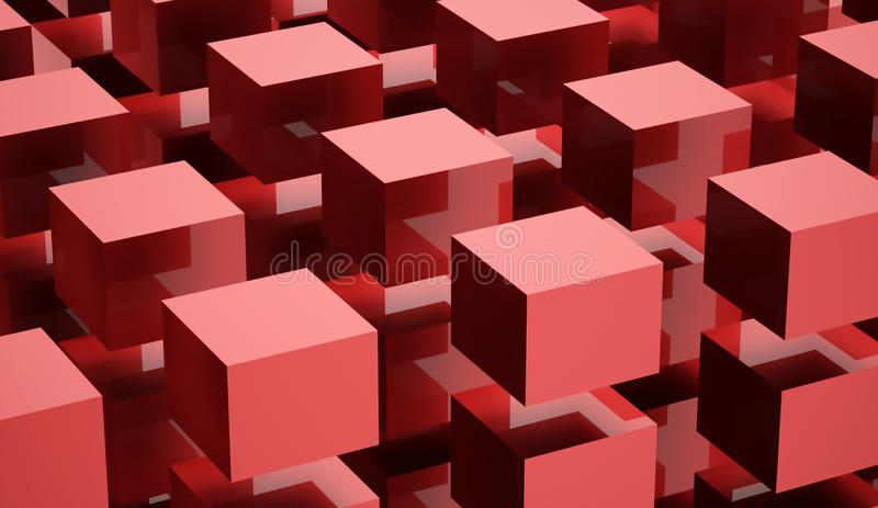 Abstract cubes background rendered on white background. Red abstract cubes background rendered on white background vector illustration