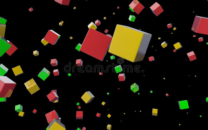 Download Abstract cubes in flight stock illustration. Image of graphic - 25244868