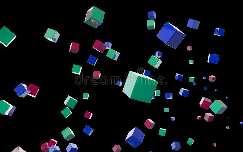 Download Abstract cubes in flight stock illustration. Illustration of image - 25244871