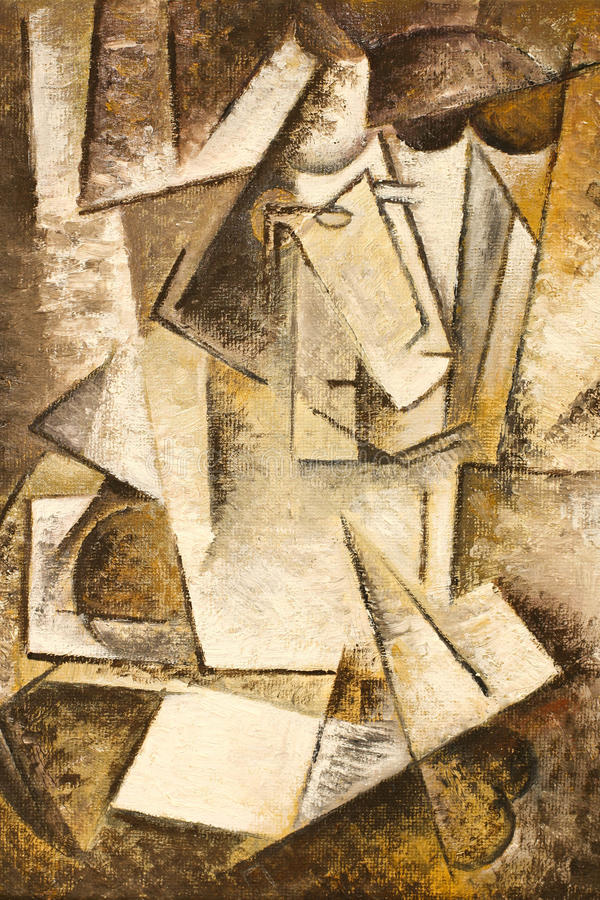 Abstract cubism oil painting royalty free stock photography