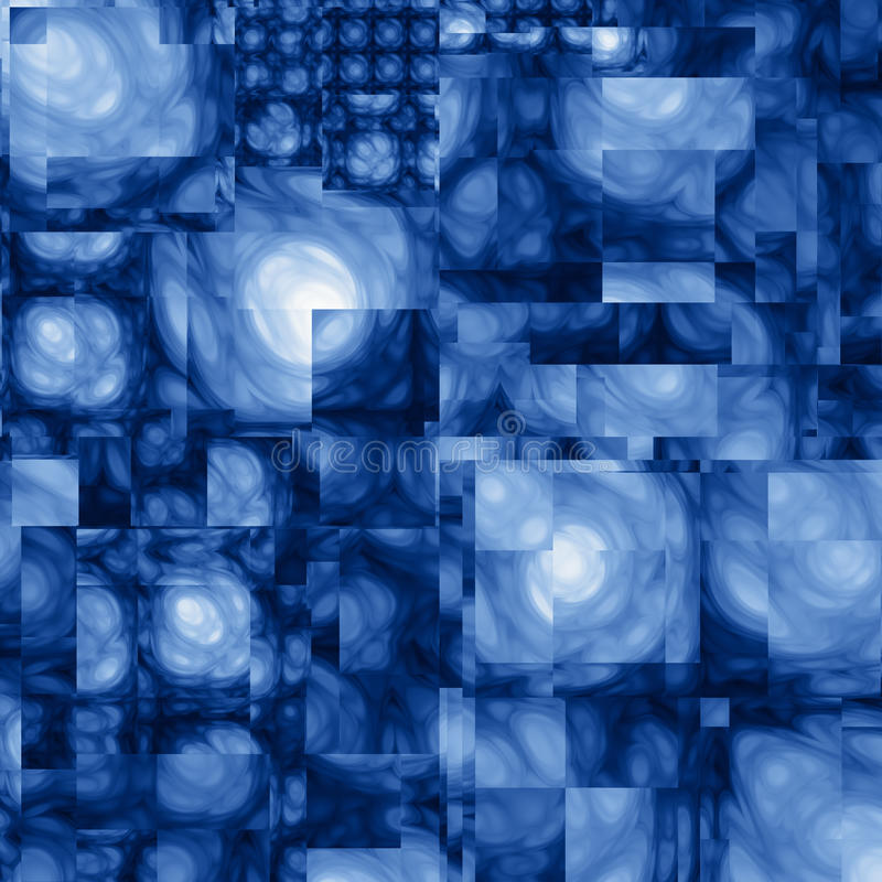 Abstract Cubist Fractal Blue Background vector illustration