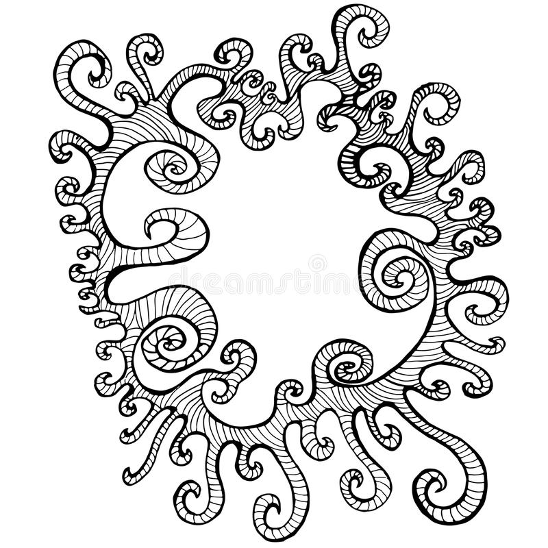 Abstract, curly, decorative, black and white frame, isolated. royalty free illustration