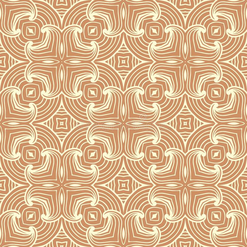 Abstract curve lines seamless pattern background illustration in black and white in reddish brown base royalty free illustration