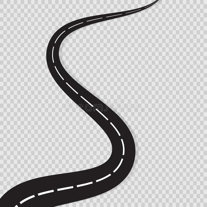 Abstract curved road asphalt, roads isolated on transparent background, winding road horizon, long road map turns. Black roadmap. Windings set. Vector royalty free illustration