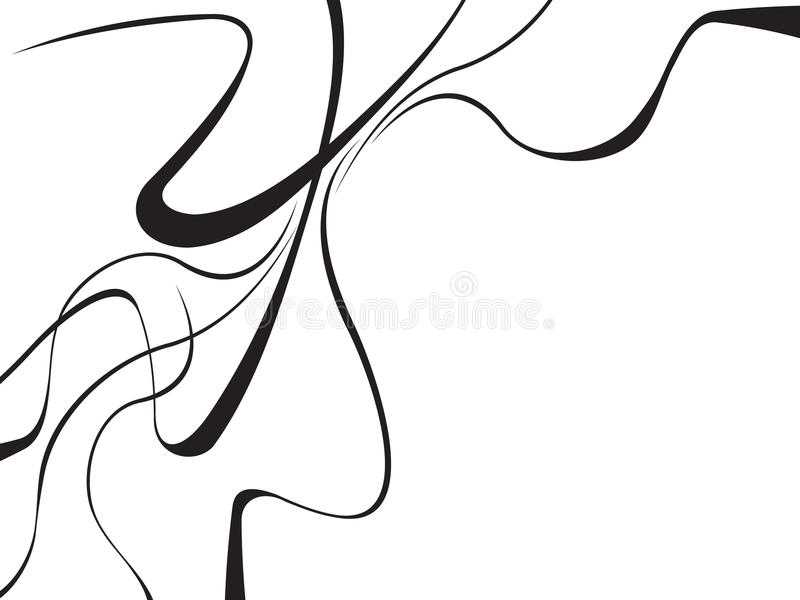 Abstract curved waves background black and white. Design stock illustration