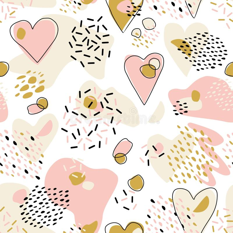 Abstract Cute seamless pattern with chaotic painted Hearts. Valentine`s day vector texture. With hand drawn Hearts and with different lines, dots and shapes stock illustration