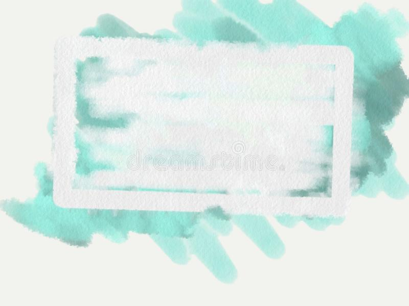 Abstract cyan blurred background with white empty field. Raster illustration for design and decoration vector illustration