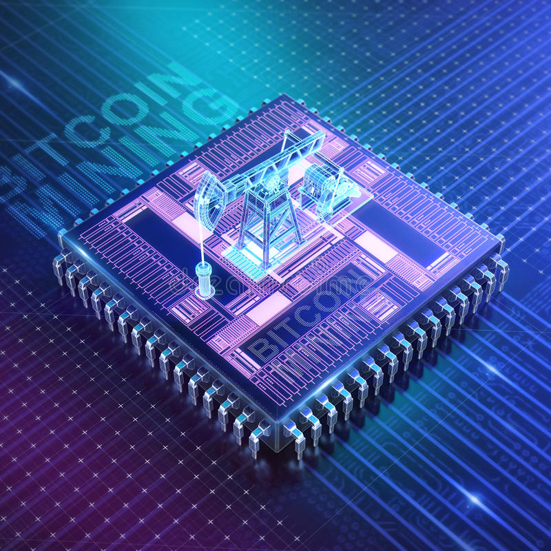 Abstract cyber space with asic chip and oil pumpjack. Blockchain Cryptocurrency Mining Concept. 3D Illustration render royalty free illustration
