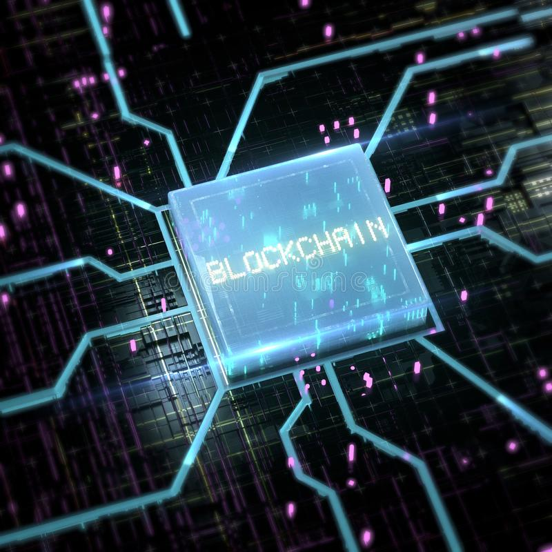 Abstract cyber space with blue glowing chip and streaming sparkles and word blockchain on it. 3d rendering illustration vector illustration
