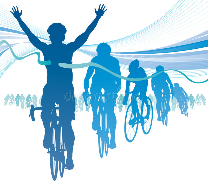 Abstract Cyclist winning the race against competit stock illustration