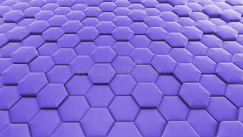 Abstract 3D background. purple hexagons. stock illustration
