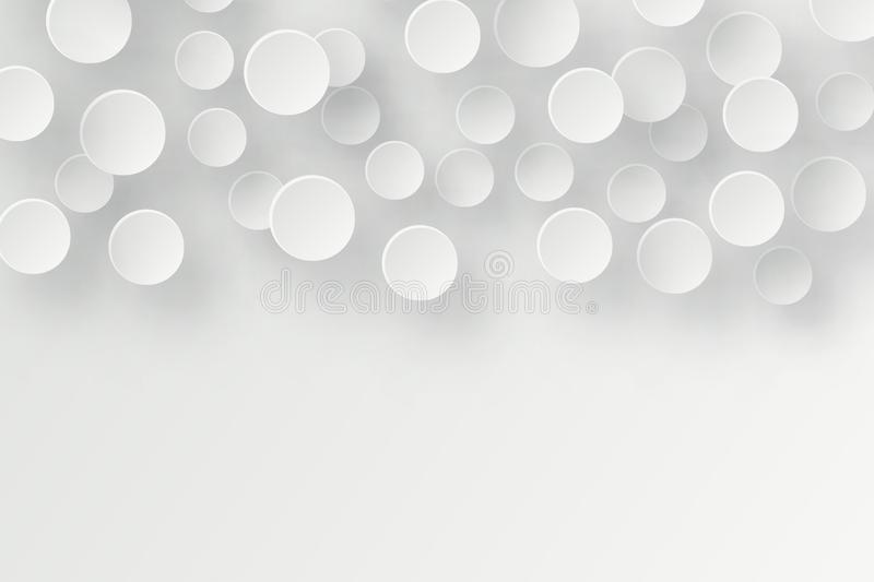 Abstract 3d background with white paper geometric shapes, circle royalty free illustration