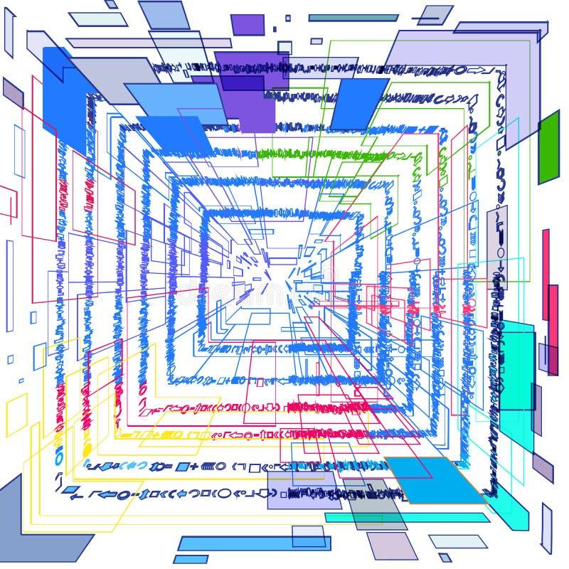 Abstract 3D beeld van gekleurde vierkanten vector illustratie