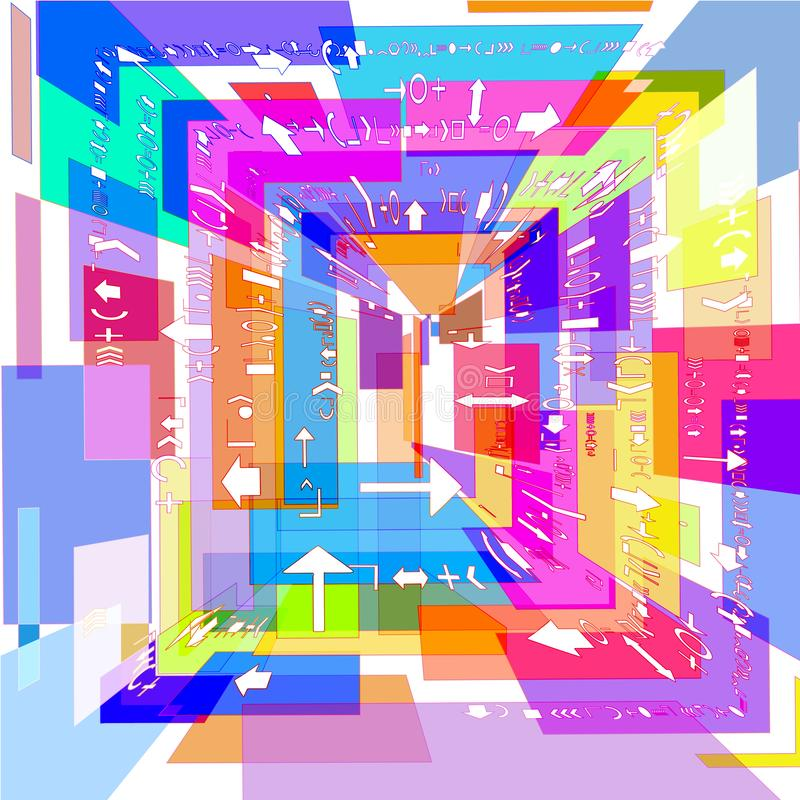 Abstract 3D beeld van gekleurde vierkanten stock illustratie
