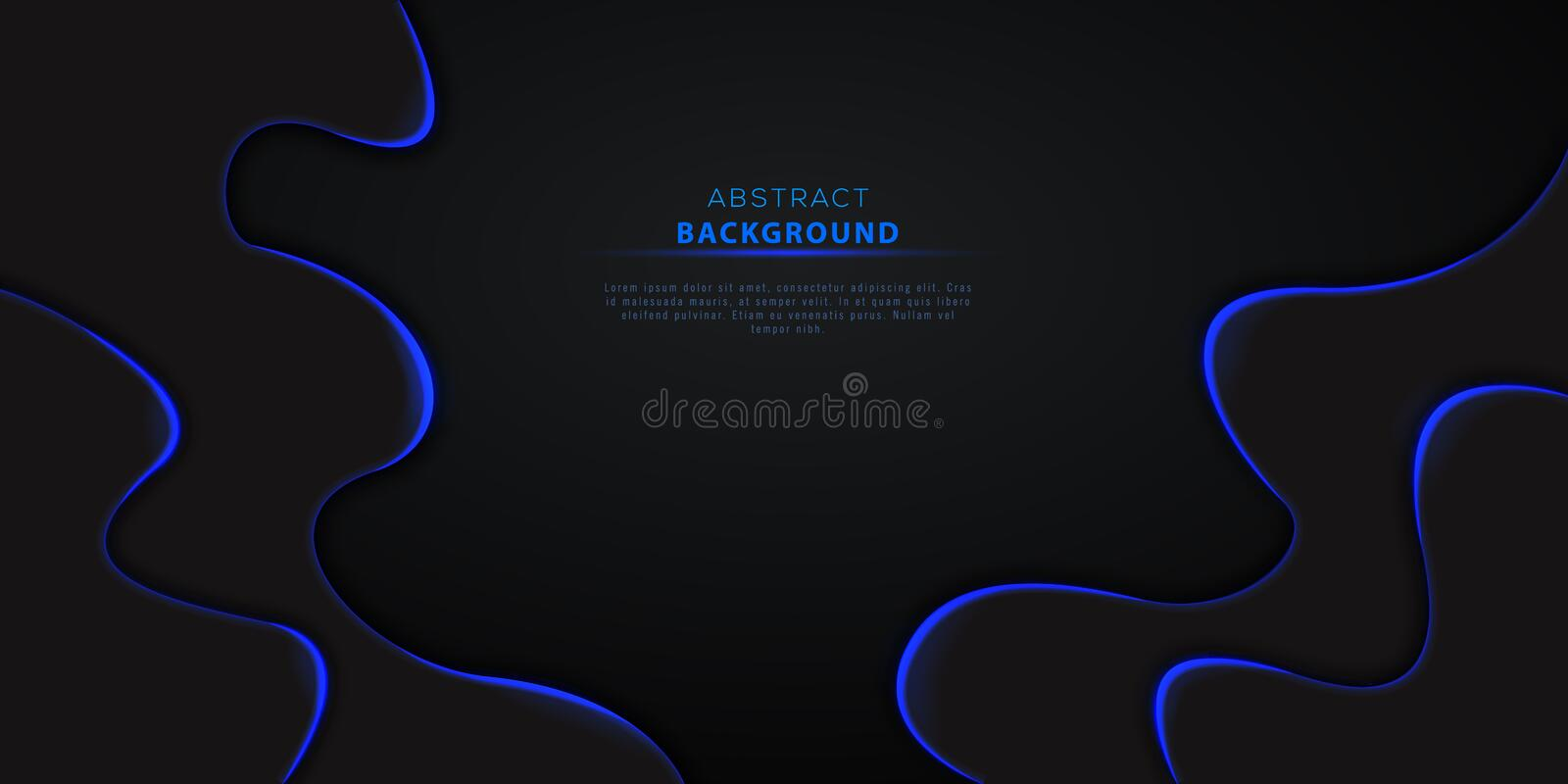 Abstract 3d black wavy background with blue neon lights and text. Futuristic technology design element for cyber monday vector illustration