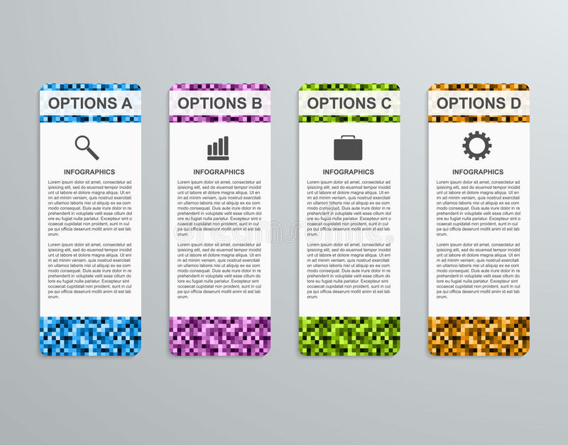 Abstract 3D business options paper infographics template. vector illustration