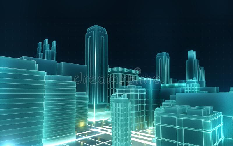Abstract 3d city rendering with lines and digital elements. Technology blockchain business connection concept royalty free illustration