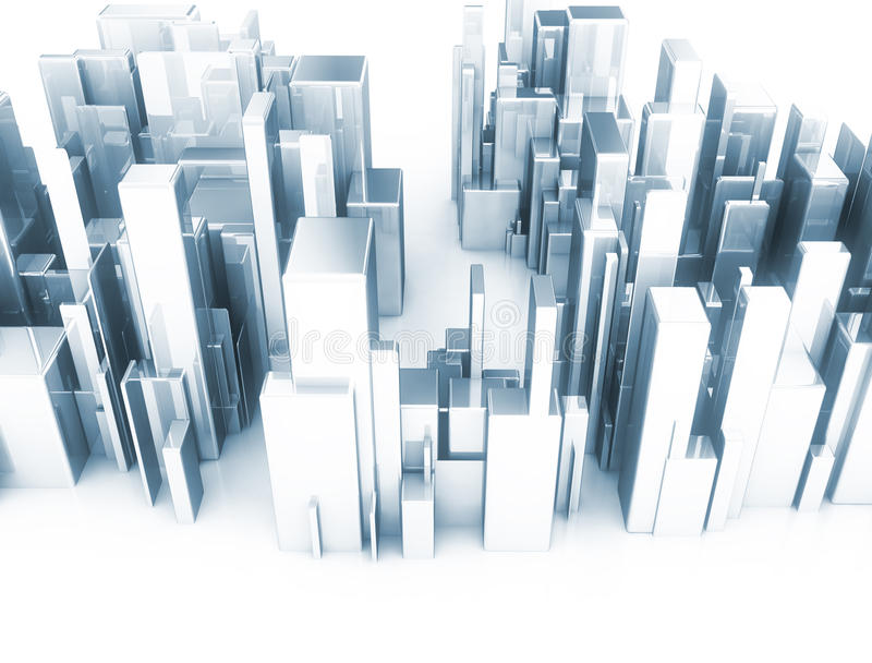 Abstract 3d city scape model vector illustration