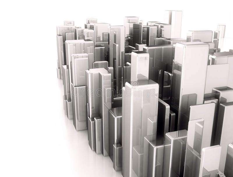 Abstract 3d city scape model stock illustration