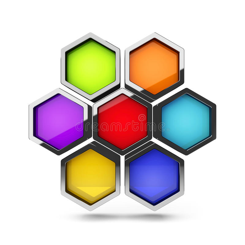 Abstract 3d colorful honeycomb design palette stock illustration