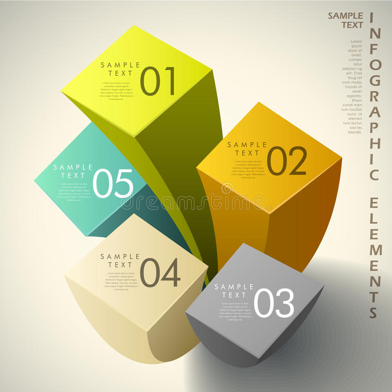 Abstract 3d cube infographics vector illustration
