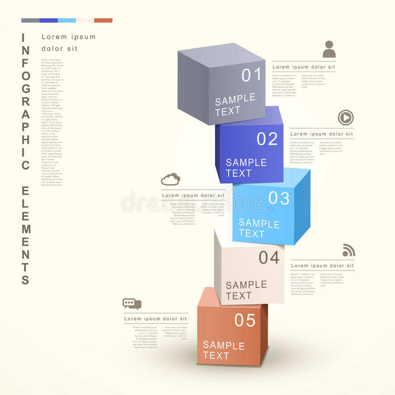 Abstract 3d cube tower infographics stock illustration
