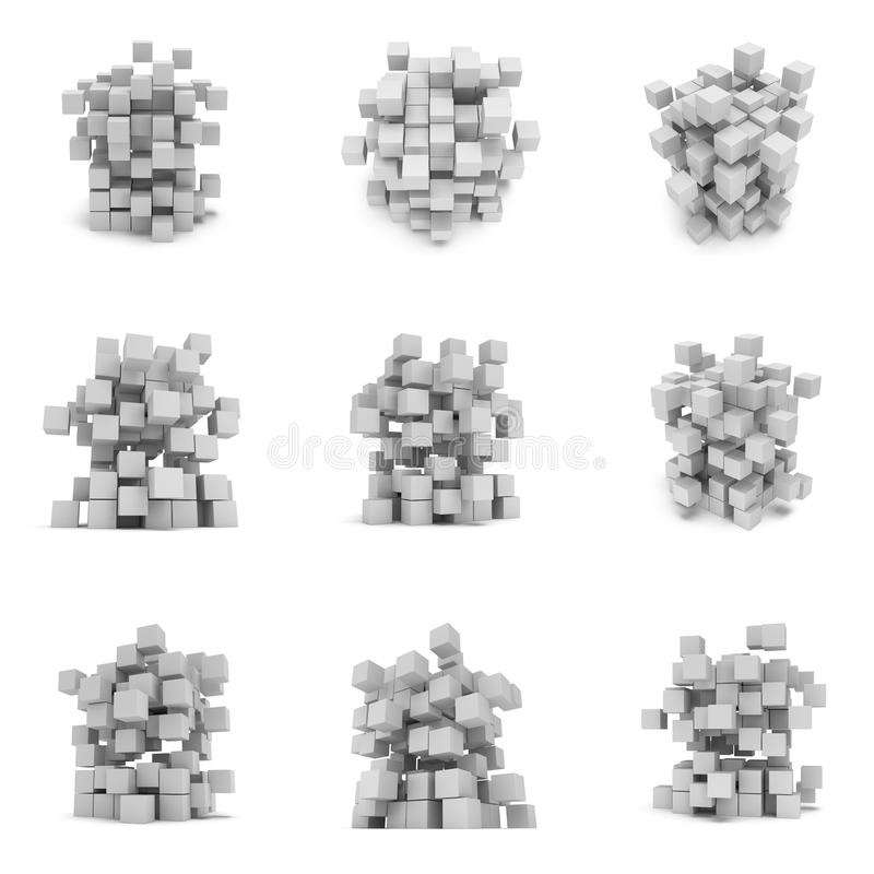 Abstract 3d cubes. set royalty free illustration
