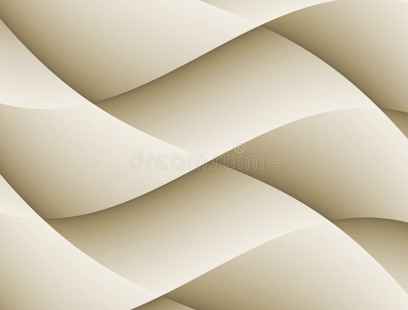 Abstract 3D Curves Tan Beige Geometric Background royalty free illustration