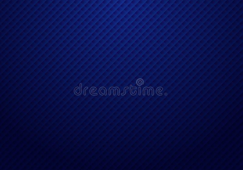 Abstract 3D dark blue squares pattern repeat striped background and texture with light luxury style stock illustration
