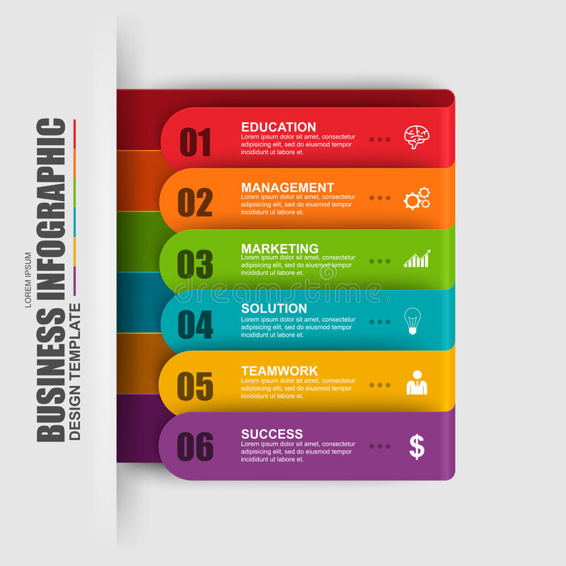 Abstract 3D digital business label Infographic stock illustration