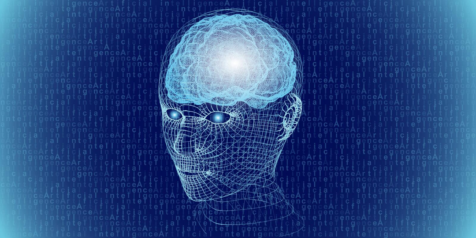 Abstract 3d digital human head and brain. Artificial intelligence concept.  Robotic  wireframe head concept. Vector illustration stock photography
