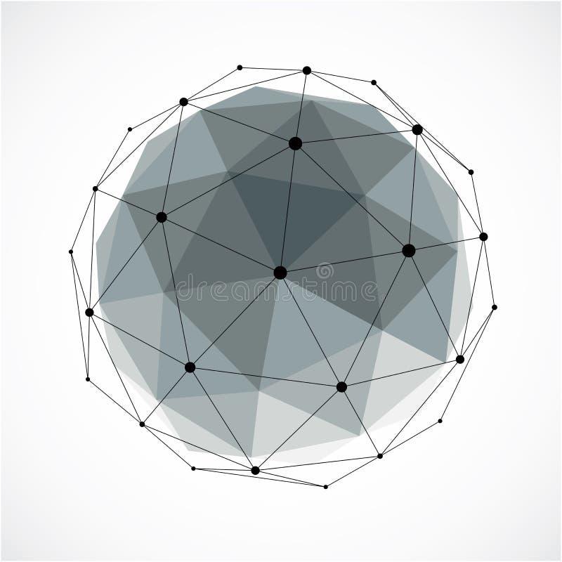 Abstract 3d gefacetteerd cijfer met verbonden zwarte lijnen en punten royalty-vrije illustratie