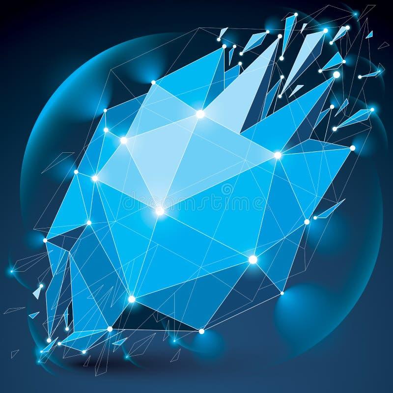 Abstract 3d gefacetteerd uitstralings blauw cijfer met verbonden zwarte Li stock illustratie