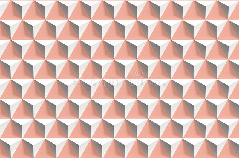 Abstract 3d geometric pattern, white pyramids. Abstract geometric pattern, white pyramids array over pink wall, 3d render illustration royalty free stock photography