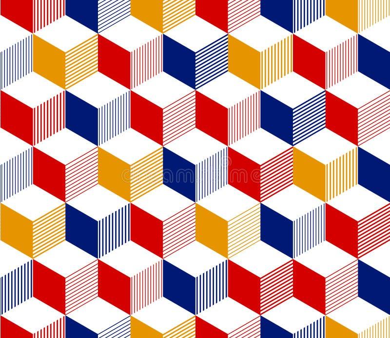 Abstract 3d gestreept kubussen geometrisch naadloos patroon in rood blauw geel en wit, vector stock illustratie